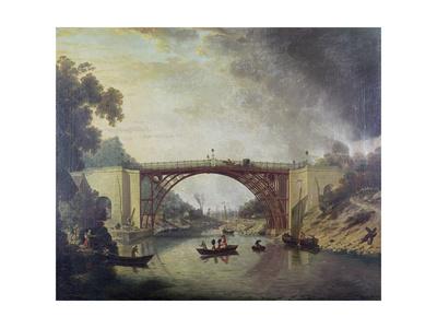 The Cast Iron Bridge Near Coalbrookdale, C.1780 Giclee Print by William Williams
