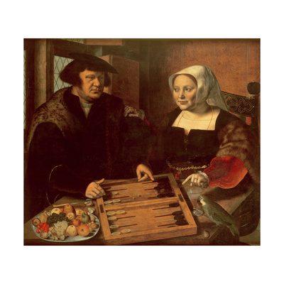 Portrait of a Husband and Wife Playing Tric-Trac Giclee Print by Jan Sanders van Hemessen