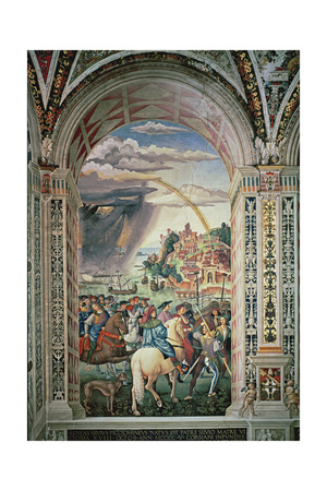 The Departure of Aeneas Silvius Piccolomini for Basel, C.1503-8 Giclee Print by Bernardino di Betto Pinturicchio
