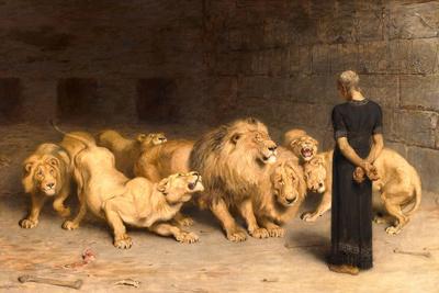 Daniel in the Lions' Den, 1872 Giclée-tryk af Briton Rivière