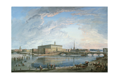 View of Stockholm from the Fersen Terrace Giclee Print by Elias Martin