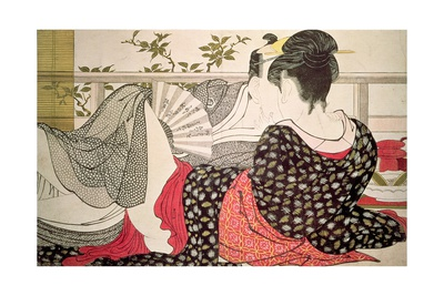Lovers from the 'Poem of the Pillow' ('Uta Makura') Giclée-Druck von Kitagawa Utamaro