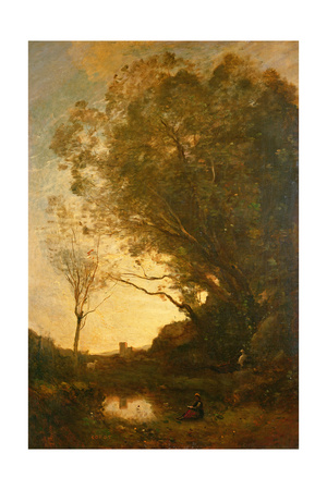 The Evening Giclee Print by Jean-Baptiste-Camille Corot