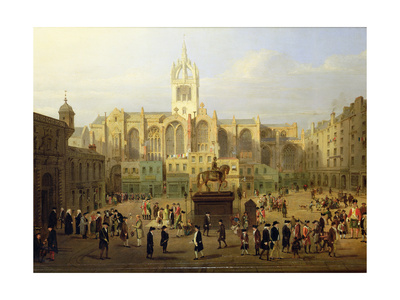 The Parliament Close and Public Figures of Edinburgh, About the End of the 18th Century Giclee Print by Nasmyth & Stanfield Roberts, Wilkie