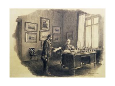 Emperor Franz Joseph I of Austria (1830-1916) at His Writing Desk at Jagdrock Giclee Print by Wilhelm Gause
