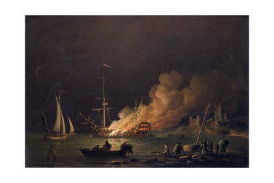 Ship On Fire At Night, c. 1756 masterpiece oil painting art print by Charles Brooking