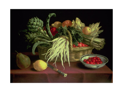 Still Life of Fruit and Vegetables Giclee Print by J. Linnard