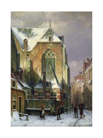 Winter Scene in Amsterdam Giclee Print by Willem Koekkoek