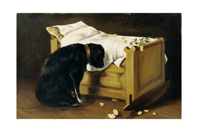 Dog Mourning its Little Master, 1866 Giclee Print by A. Archer