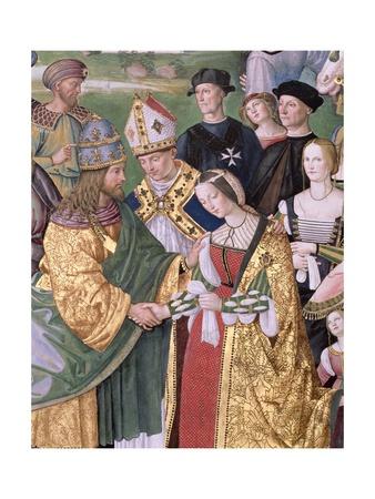 Aeneas Sylvius Piccolomini (1405-64) Presents Eleonora of Aragon to Frederick III (1415-93),… Giclee Print by Bernardino di Betto Pinturicchio