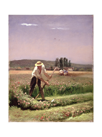 A Peasant, Mowing Giclee Print by Charles Emile Jacque