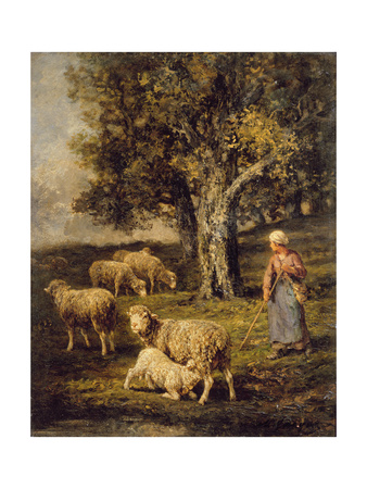 A Shepherdess and Sheep in a Barbizon Landscape Giclee Print by Charles Emile Jacque