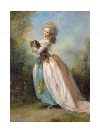 A Lady with a Dog Giclee Print by Jean-frederic Schall