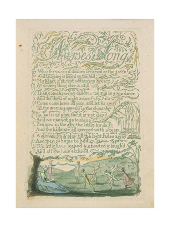 'Nurse's Song,' Plate 18 from 'Songs of Innocence,' 1789 Giclee Print by William Blake