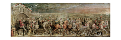 Sir Jeffrey Chaucer (C.1342-1400) and the Nine and Twenty Pilgrims on their Journey to Canterbury Giclee Print by William Blake