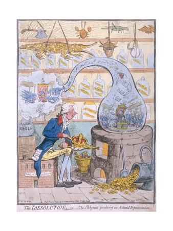 The Dissolution, or the Alchymist Producing an Aetherial Representation, Published by Hannah… Giclée-tryk af James Gillray