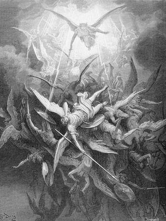The Fall of the Rebel Angels, from Book I of 'Paradise Lost' by John Milton (1608-74) C.1868 Giclee Print by Gustave Doré