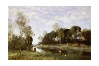 Souvenir of the Bresle at Incheville Giclee Print by Jean-Baptiste-Camille Corot