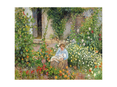 Mother and Child in the Flowers, 1879 Stampa giclée di Camille Pissarro