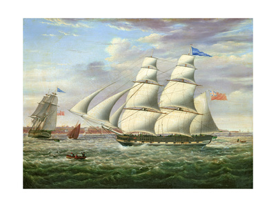 The Barque 'Andromeda' in Two Positions, 1831 Giclee Print by Samuel Walters