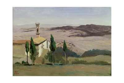 Volterra, Church and Bell Tower, 1834 Giclee Print by Jean-Baptiste-Camille Corot