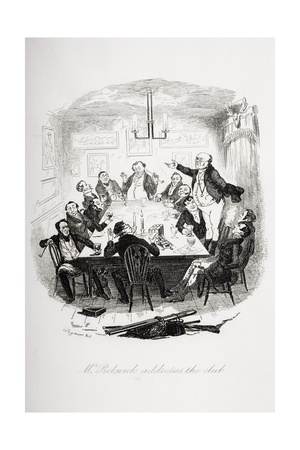 Mr. Pickwick Addresses the Club, Illustration from 'The Pickwick Papers' by Charles Dickens… Giclee Print by Hablot Knight Browne
