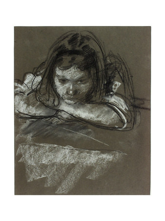 Head and Shoulders of a Girl at a Table Giclee Print by Henry Tonks