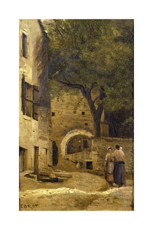 A Village Scene Giclee Print by Jean-Baptiste-Camille Corot