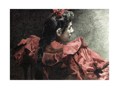 The Woman in Red, 1895 Giclée-Druck von Mikhail Aleksandrovich Vrubel