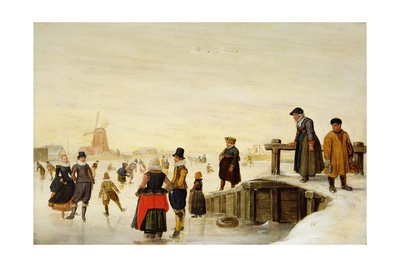 Figures Skating in a Dutch Landscape, C.1625 Giclee Print by Hendrik Avercamp