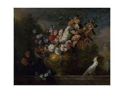 Still Life with Flowers in an Urn, with a Cockatoo, on a Ledge, C.1699 Giclee Print by Jakob Bogdani Or Bogdany