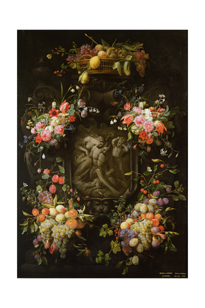 Garland of Fruit and Flowers with the Death of Adonis, 1652 Giclee Print by  Joris van Son and Erasmus Quellinus