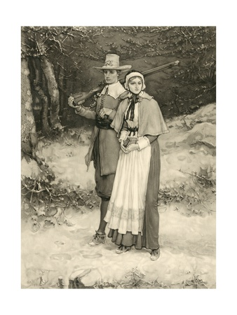 Puritan Couple on their Way to Sunday Worship, Engraved by Thomas Gold Appleton, 1885 Giclee Print by George Henry Boughton
