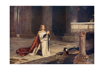 Aspirant Knight Keeping Vigil of Arms for Entry into Knighthood, Illustration from 'Romance and… Giclee Print by John Pettie