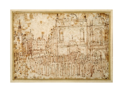 A Venetian Procession Moving from a Scuola to a Flanking Church Giclee Print by Gentile Bellini