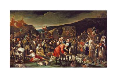 The Market, or the Fair of Poggio a Caiano Giclee Print by Giuseppe Maria Crespi