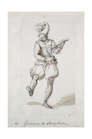 Man with Gridiron and Shoe Horn Giclee Print by Inigo Jones