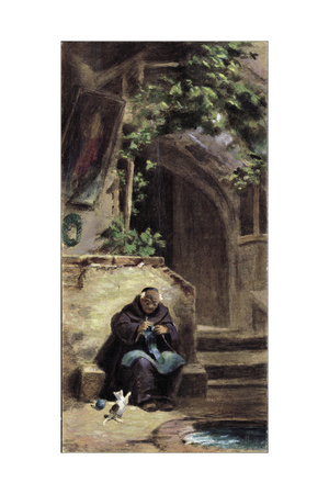 Knitting Monk Giclee Print by Carl Spitzweg