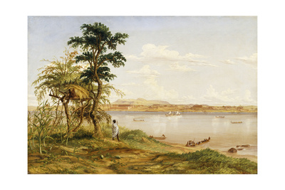 Town of Tete from the North Shore of the Zambezi, 1859 Giclee Print by Thomas Baines