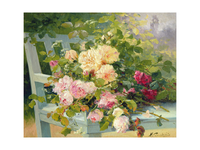 Roses on the Bench Giclee Print by Eugene Henri Cauchois