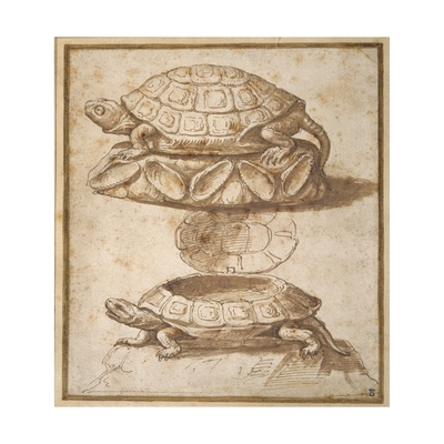 Design for a Lidded Box in the Shape of a Tortoise, Shown Open and Shut Giclee Print by Giulio Romano