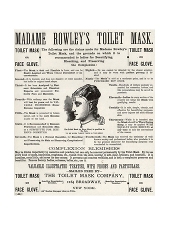 Advertisement for 'Madame Rowley's Toilet Mask', 1890s Giclee Print