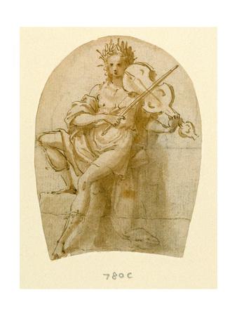 Apollo Seated, Playing His Viol Giclee Print by Bernadino India