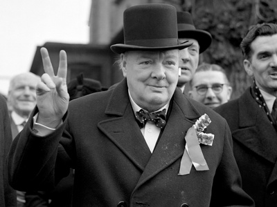 Sir Winston Churchill Giving His 'Victory' Sign During a Polling Day Tour of His Constituency in… Photographic Print