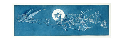 The Dragon Chariot and Fairy Minstrels Cross the Moon Giclee Print by Charles Altamont Doyle