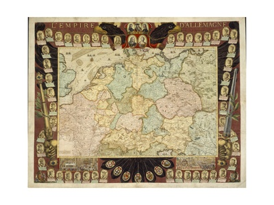 Map of the German Empire with Portraits of the Holy Roman Emperors, Published by Louis-Charles… Giclee Print by Nicolas De Fer