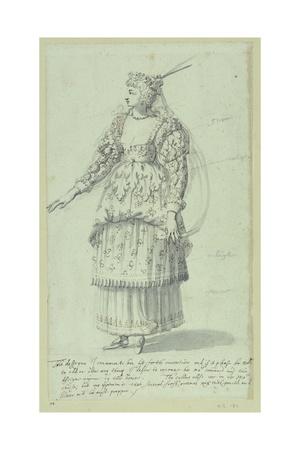 Chloris: Final Sketch for Henrietta Maria, C.1631 Giclee Print by Inigo Jones