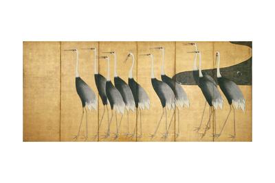 Six-Panel Screen Depicting Cranes, Edo Period Giclee Print by Ogata Korin