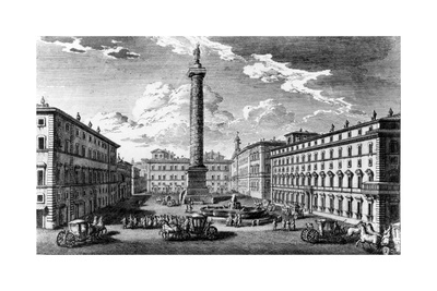 View of Piazza Colonna, Rome, 1752 Giclee Print by Giuseppe Vasi