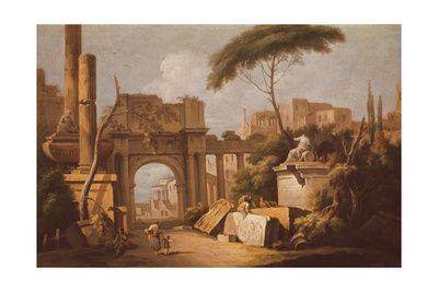 Ancient Ruins with a Great Arch and a Column, C.1735-40 Giclee Print by Giuseppe Zais
